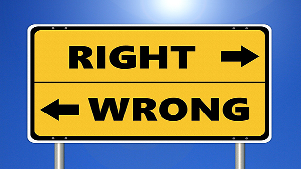 Sign with the text: Wrong Right