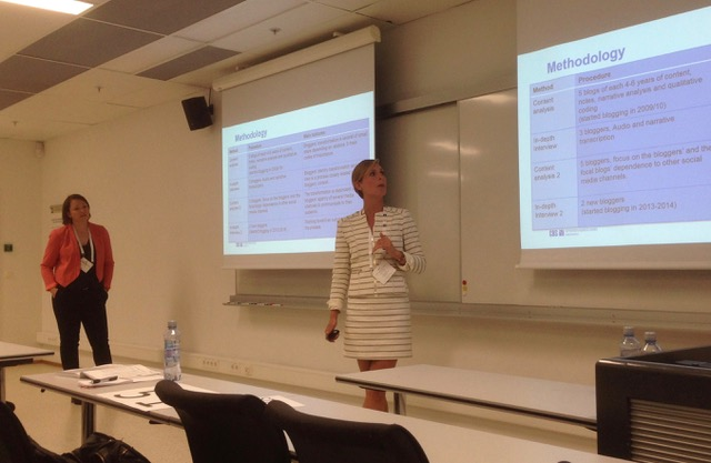 cand.merc. Anna-Bertha Heeris Christensen presenting her Masters Thesis with her supervisor, Antonia Erz, at European Marketing Association Conference, Oslo, 2016.
