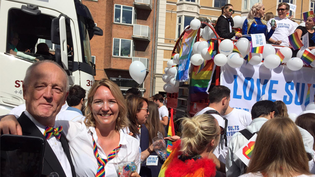 Professor and former CBS Dean of Research Alan Irwin and Associate Professor and CBS Pride-organiser Sara Louise Muhr at Copenhagen Pride 2017.