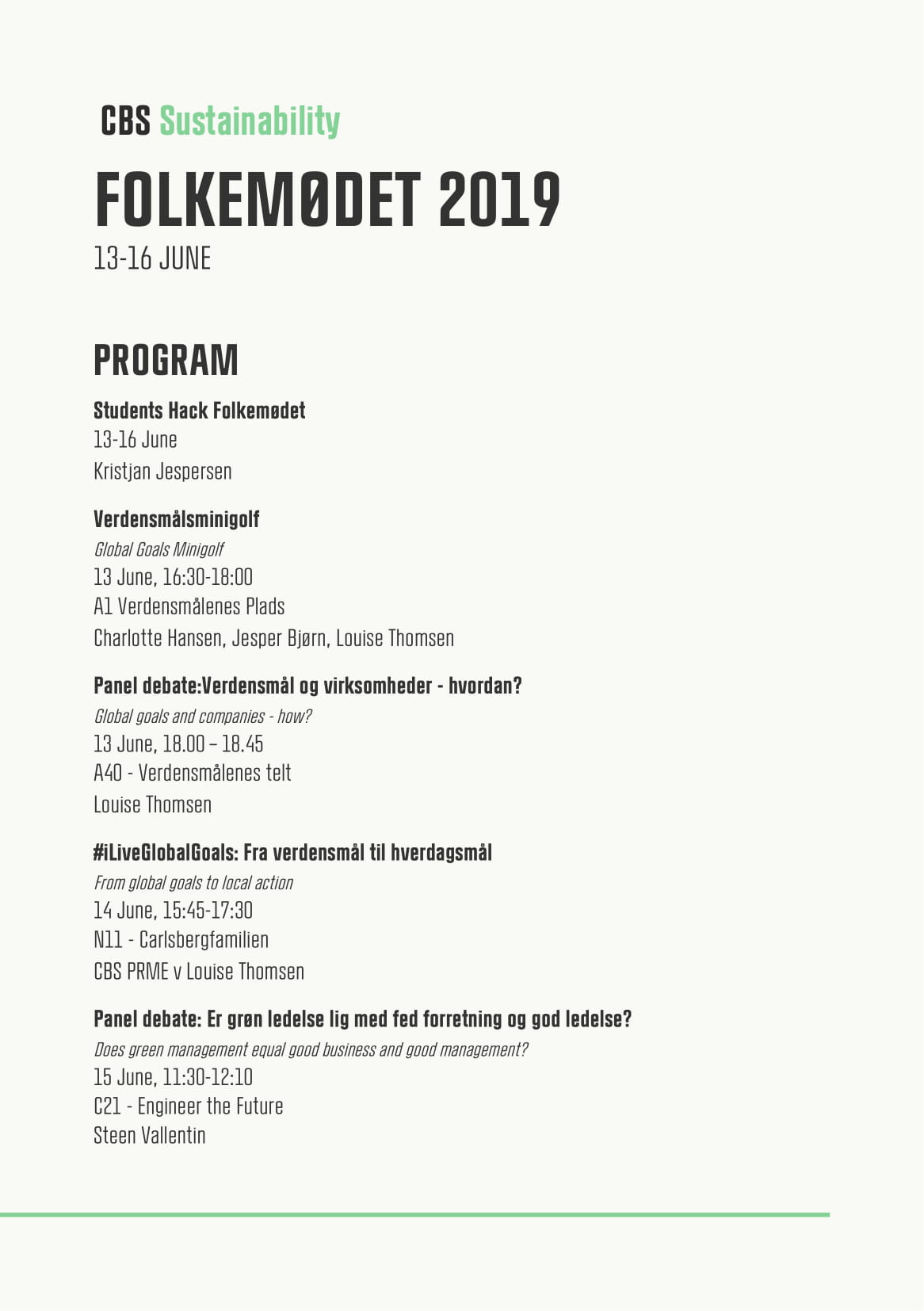 Folkemødet programme