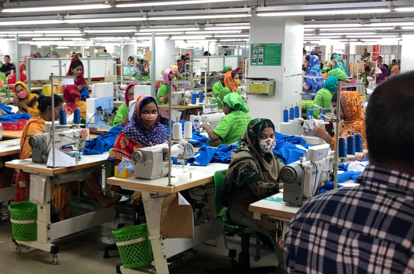 Workers in a garment production factory in Bangladesh