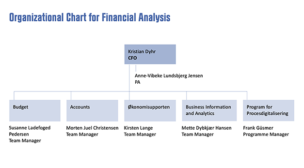 Organizational chart for Financial Analysis