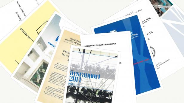 Forsider af diverse årsberetninger og årsrapporter