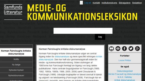 Skærmbillede af Medie- og kommunikationsleksikon