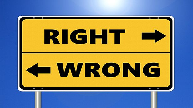 Skilt med teksten: Wrong Right