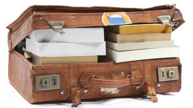 Suitcase full of books