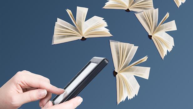 Hånd med iPad og bøger der flyver omkring. Association til e-bøger.