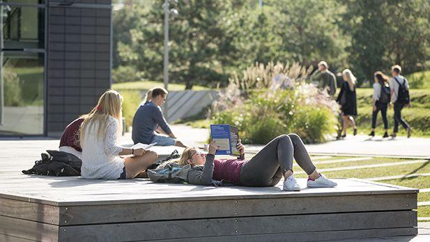 Studerende læser foran CBS Solbjerg Plads