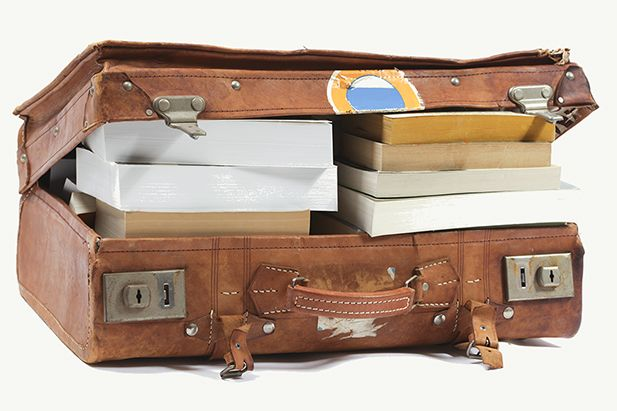 Suitcase with heavy books