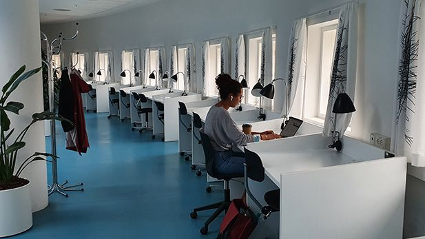 Student using a study seat in a reading room