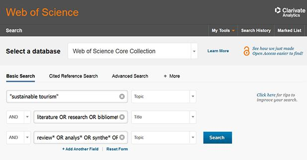 Web of science search