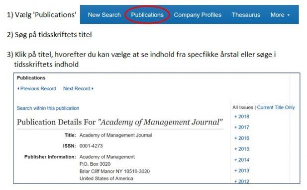 Skærmbillede fra Business Source Alumni Edition