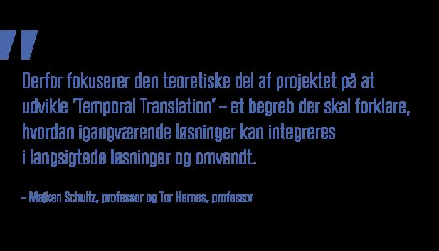 Derfor fokuserer den teoretiske del af projektet på at udvikle Temporal Translation – et begreb der skal forklare, hvordan igangværende løsninger kan integreres i langsigtede løsninger og omvendt_Professor Majken Schultz