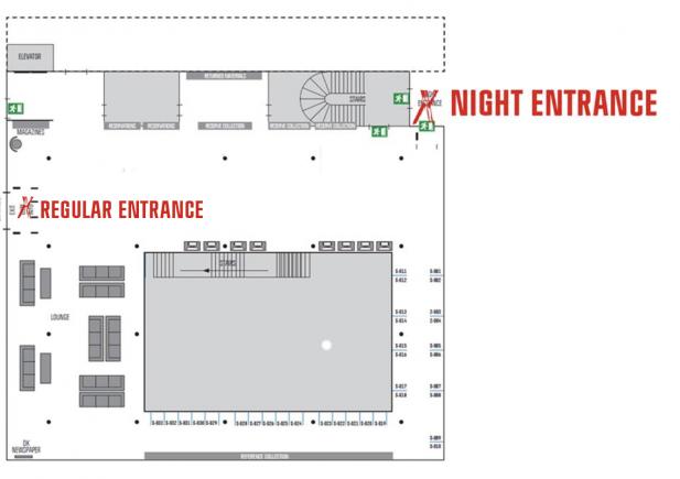Kort over CBS Biblioteks stueetage med markering af natindgangens placering