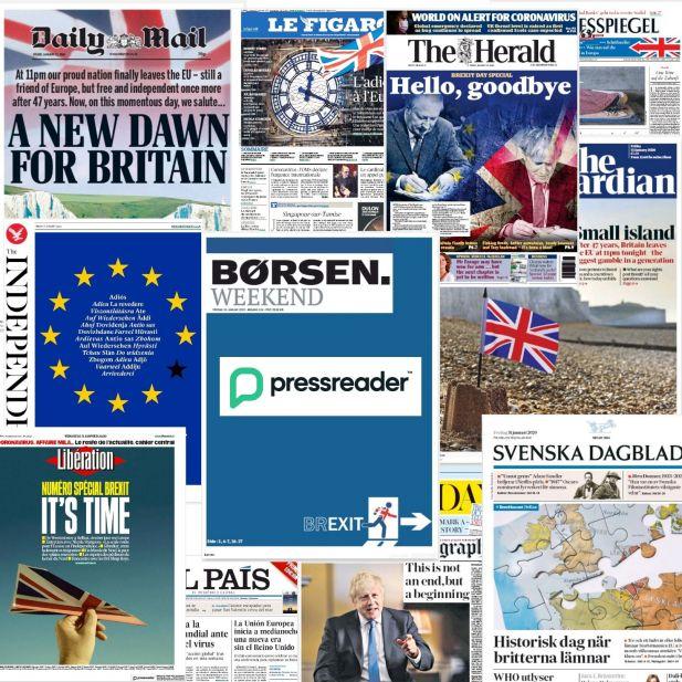 Billeder af avisforsider fra internationale aviser