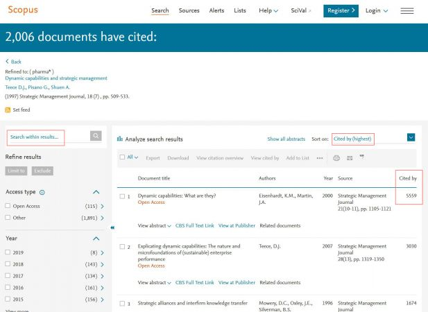 Citation search in Scopus