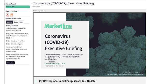 COVID-19 section in MarketLine