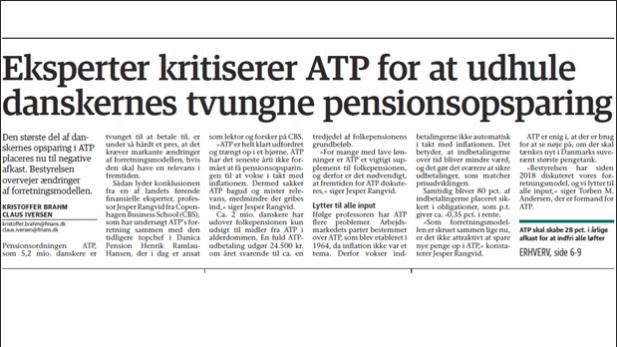 Eksperter kritiserer ATP for at udhule danskernes tvungne pensionsopsparing