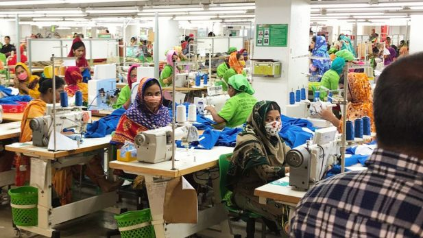 Workers in a garment factory in Bangladesh