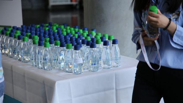 Glass bottles at the conference