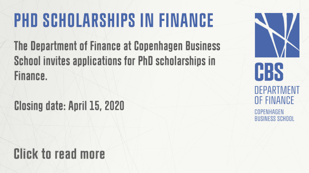PhD scholarships in Finance 2020