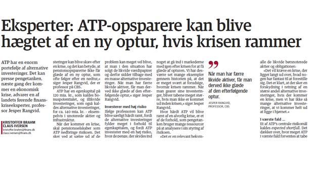 Eksperter: ATP-opsparere kan blive hægtet af en ny optur, hvis krisen rammer
