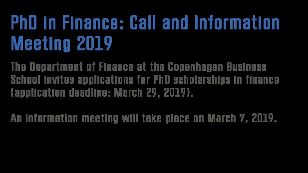 PhD scholarships in Finance 2019