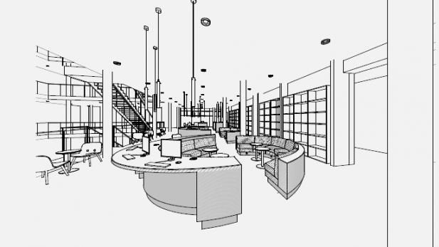 Tegning af den kommende indretning