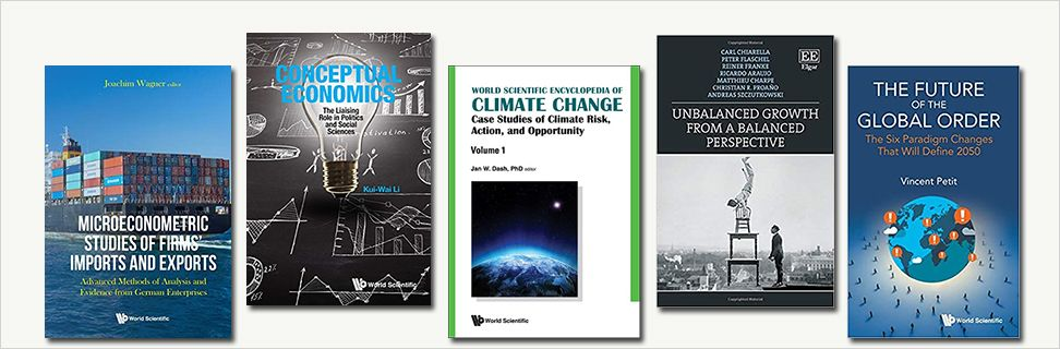 Covers from new books on economy, growth and climate change