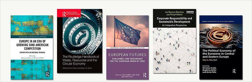 Forsider fra nye bøger om blandt andet bæredygtighed og deleøkonomi